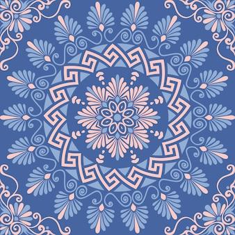 Ornamento floral griego sin costura, meandro