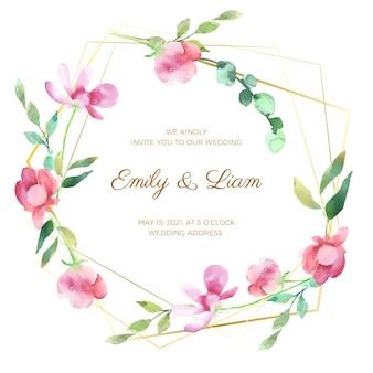 Ornamento floral del marco de la boda