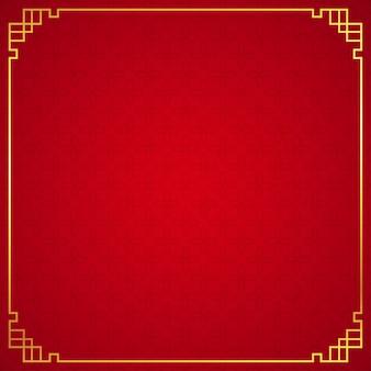 Ornamento de la frontera chino oriental sobre fondo rojo.