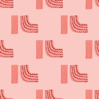 Ornamento de geometría de patrones sin fisuras. figuras sencillas con tiras sobre fondo rosa. telón de fondo infinito minimalista.
