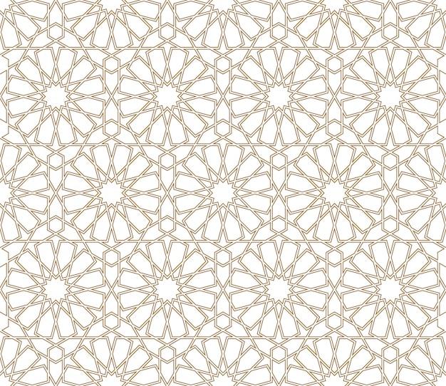Ornamento geométrico árabe sin costuras en color marrón