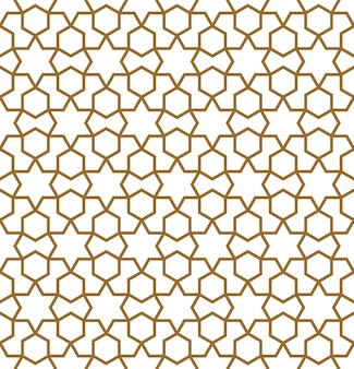 Ornamento geométrico árabe tradicional sin costuras en color marrón.