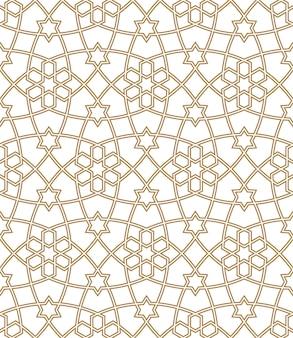 Ornamento geométrico sin costuras en color marrón. líneas medias dobles.