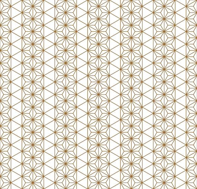 Ornamento geométrico japonés tradicional de patrones sin fisuras. líneas de color dorado.