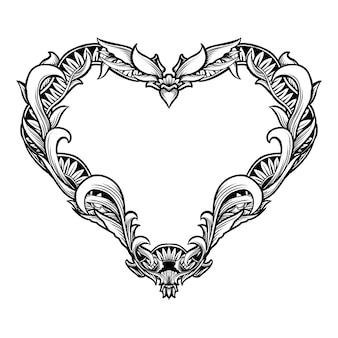 Ornamento de grabado de corazón dibujado a mano en blanco y negro