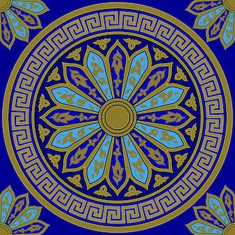 Ornamento griego de oro transparente de vector (meandro)