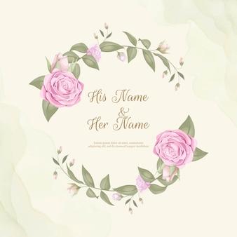 Ornamento de invitación de boda elegante simple con ramo de rosas