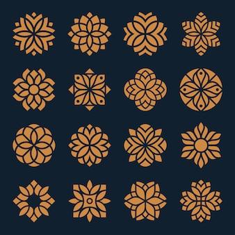 Ornamento logo y conjunto de diseño de iconos.