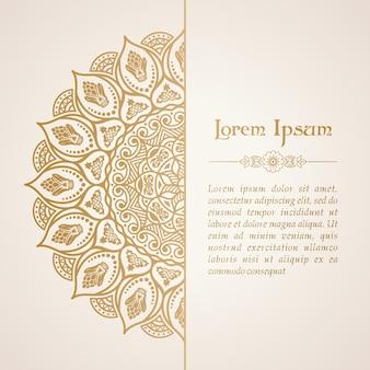 Ornamento de mandala de fondo adornado de tarjeta floral y lugar para texto