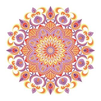 Ornamento de mandala, fondo floral dibujado a mano.