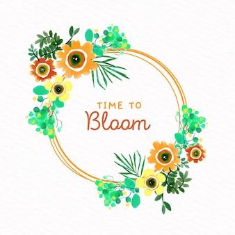 Ornamento de marco floral acuarela primavera