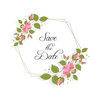 Ornamento de marco floral para diseño de boda