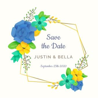 Ornamento de marco floral para estilo de boda