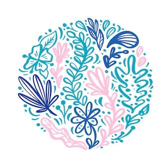 Ornamento redondo escandinavo plano floral del ramo de la hierba de la flor del color