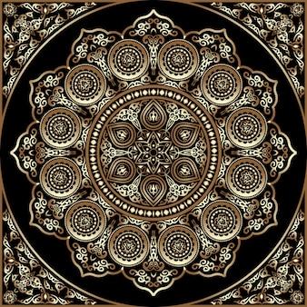 Ornamento redondo de madera 3d - árabe, islámico, estilo del este
