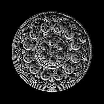 Ornamento redondo metálico 3d - árabe, islámico, estilo del este