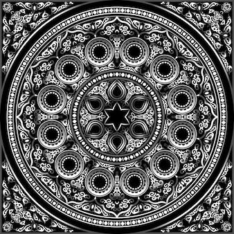 Ornamento redondo metálico en 3d en negro: árabe, islámico, estilo oriental