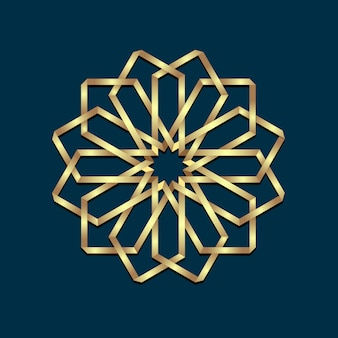 Ornamento redondo de oro origami 3d islámica