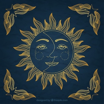 Ornamento de sol y luna dibujados a mano