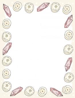 Ornamento de velas y cristales de cuarzo en estilo cómico garabatos vista superior plantilla de carta.