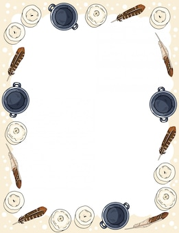 Ornamento de velas, plumas y calderos en plantilla de postal de vista superior de garabatos de estilo cómico. banner de formato de carta con lugar para el texto. acogedor boho estacionario