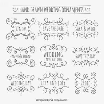 Ornamentos de boda dibujados a mano
