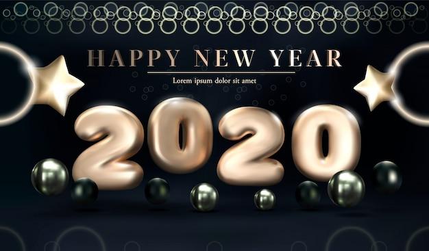 Oro 2020 feliz año nuevo sobre un fondo oscuro