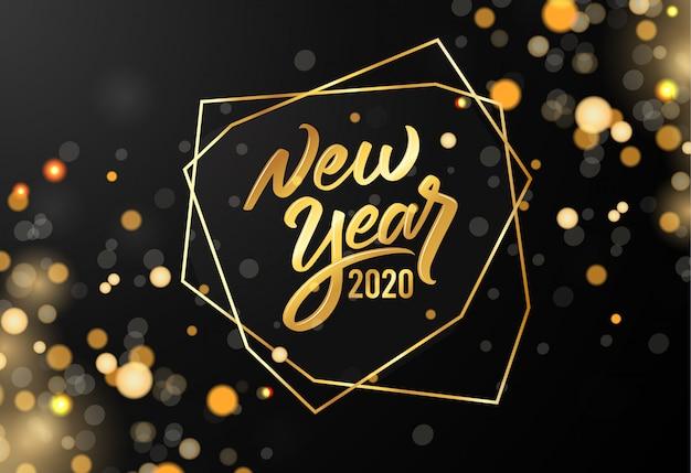 Oro borroso feliz año nuevo 2020 con texto de letras
