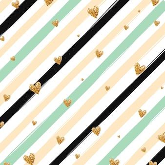Oro brillante corazón confeti patrón transparente sobre fondo de rayas