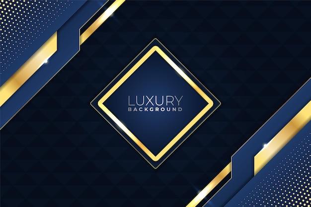 Oro brillante geométrico de lujo elegante moderno con fondo azul marino
