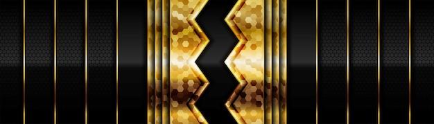Oro brillante moderno con carbono oscuro negro para diseño de fondo abstracto