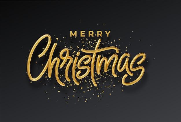 Oro brillante realista 3d inscripción feliz navidad aislado sobre fondo negro.