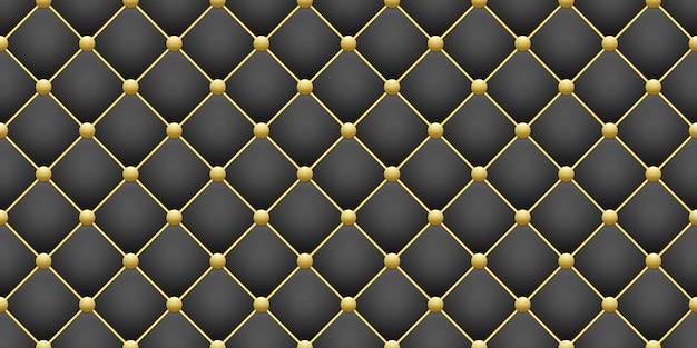Oro brillante redondo y rombo cuadrado negro geométrico de patrones sin fisuras