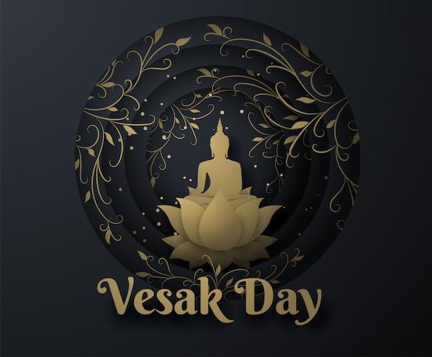 Oro buda en flor de loto y hiedra fondo feliz día de vesak.