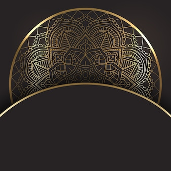 Oro decorativo y diseño mandala negro.