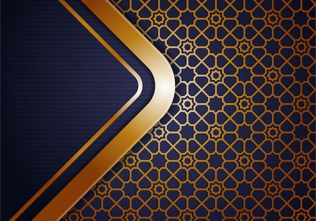 Oro degradado abstracto y fondo islámico poligonal geométrico púrpura