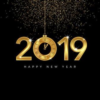 Oro feliz año nuevo diseño 2019 con reloj.