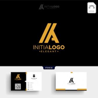 Oro inicial de lujo k o ka, plantilla de logotipo y tarjeta de visita