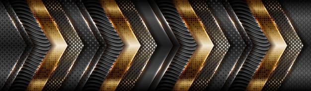 Oro mate degradado de tecnología abstracta con fondo de capa de material negro