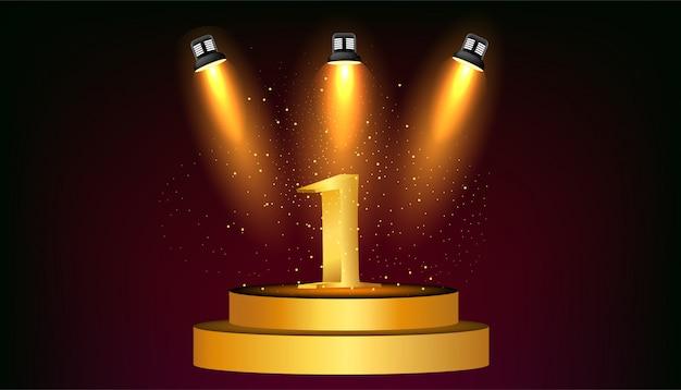 Oro número uno en el podio redondo de oro.