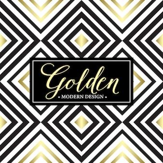 Oro de patrones geométricos sin fisuras. plantilla de tarjeta
