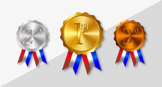 Oro, plata, bronce, medallas de premio con cintas.