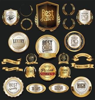 Oro retro etiquetas insignias marcos y colección de cintas