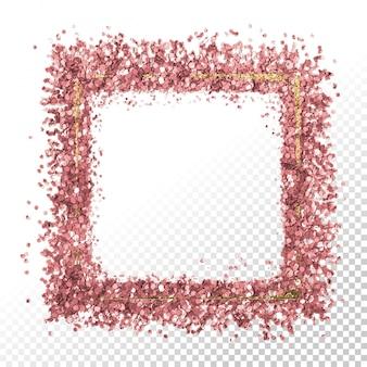 Oro rosa rosa brillo estrellas. marco de trazo de pincel brillante