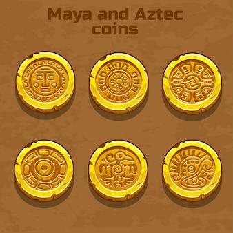 Oro viejo azteca y monedas mayas, elemento del juego