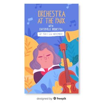 Orquesta musical dibujada a mano en el cartel del festival del parque