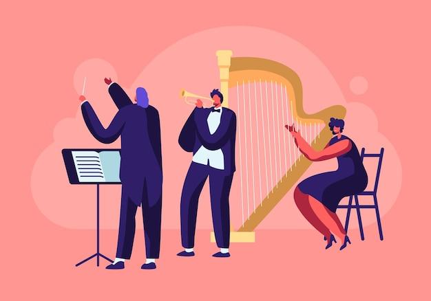 Orquesta sinfónica tocando concierto de música clásica
