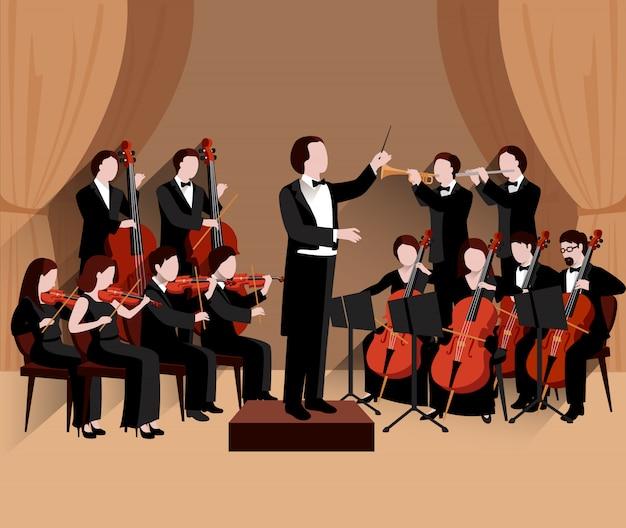 Orquesta sinfónica con violines de orquesta y músicos de trompeta.