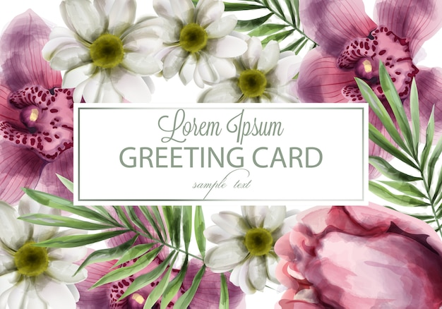Orquidea y margarita flores tarjeta acuarela