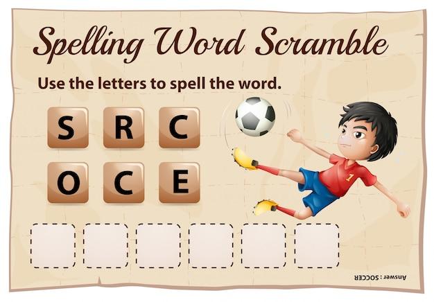 Ortografía plantilla de juego de word scramble con word soccer